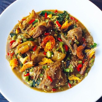 Igbagba Ofofo or Gbagba Fofo. Otherwise known as Okro Peppersoup.